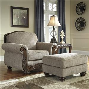 Traditional Chair & Ottoman with Showood Trim