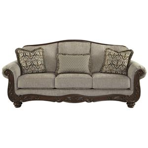 Traditional Sofa with Showood Trim & Camel Back