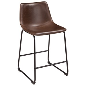 Contemporary Brown Faux Leather Upholstered Barstool with Bucket Seat
