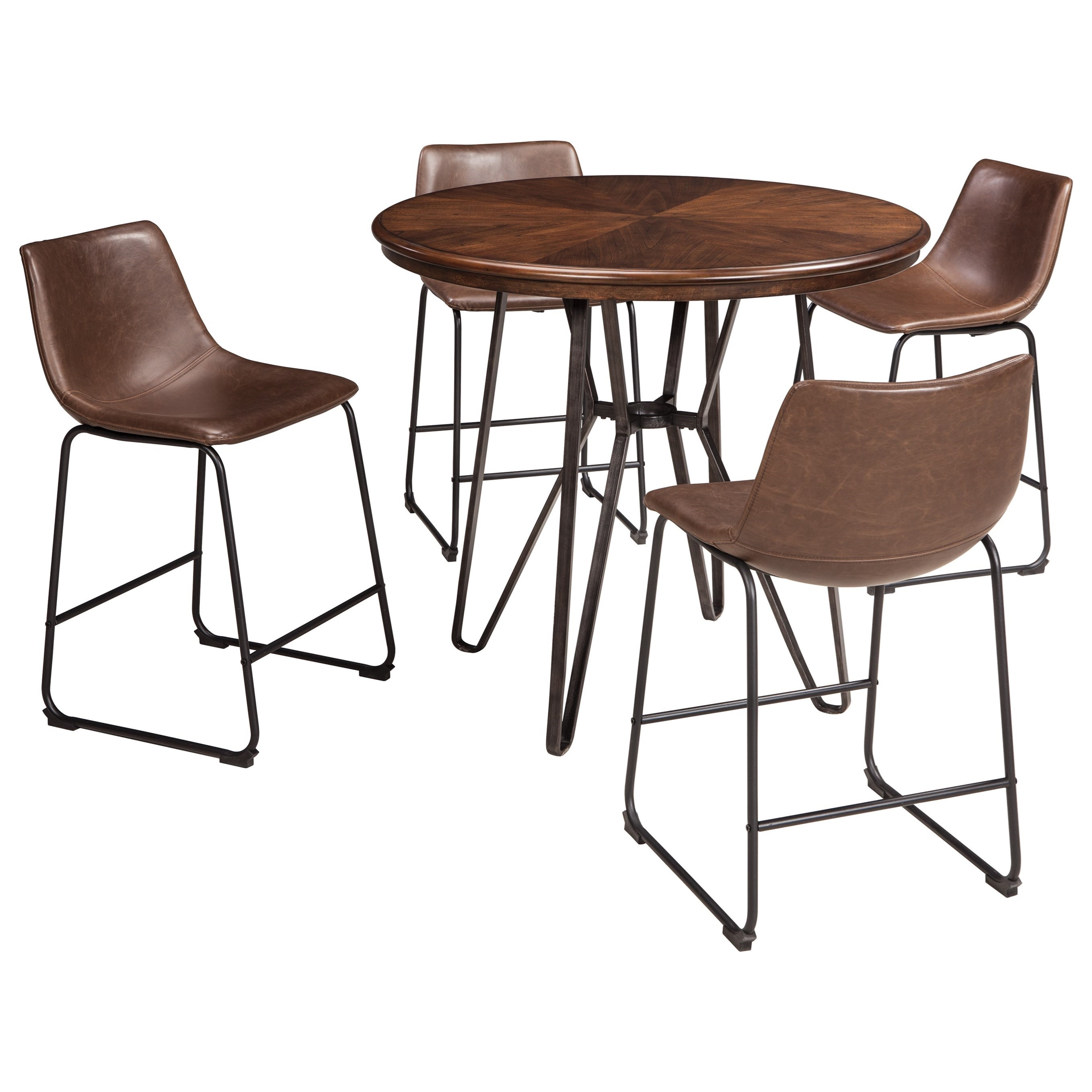 Centiar 5-Piece Round Counter Table Set by Signature Design by Ashley at Northeast Factory Direct