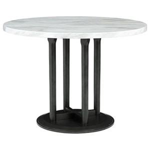 Round Dining Room Table with Faux Marble Top