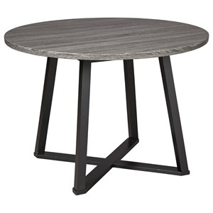 Round Dining Room Table with Gray Top and Black Metal Base