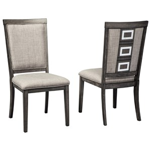 Contemporary Upholstered Side Chair with Metal Accents