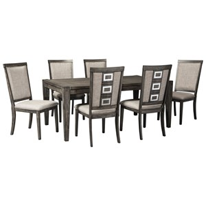 7 Piece Contemporary Rectangular Table and Chair Set with Removable Leaf
