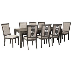 9 Piece Contemporary Rectangular Table and Chair Set with Removable Leaf
