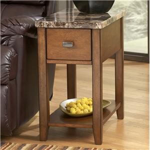 Medium Brown Theo Chairside End Table with Marble-Like Top