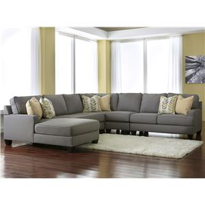 Modern 5-Piece Sectional Sofa with Left Chaise & Reversible Seat Cushions