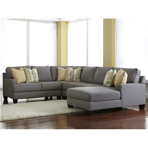Modern 4-Piece Sectional Sofa with Right Chaise & Reversible Seat Cushions