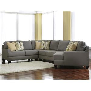 Modern 4-Piece Sectional Sofa with Right Cuddler & Reversible Seat Cushions