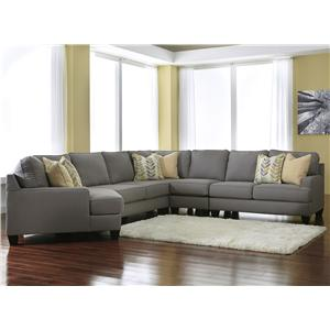 Modern 5-Piece Sectional Sofa with Left Cuddler & Reversible Seat Cushions