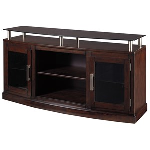 Medium TV Stand with Floating Black Tempered Glass Top