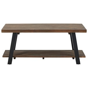 Metal/Solid Pine Wood Coffee Table with Shelf