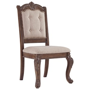 Traditional Dining Upholstered Side Chair with Ornate Details