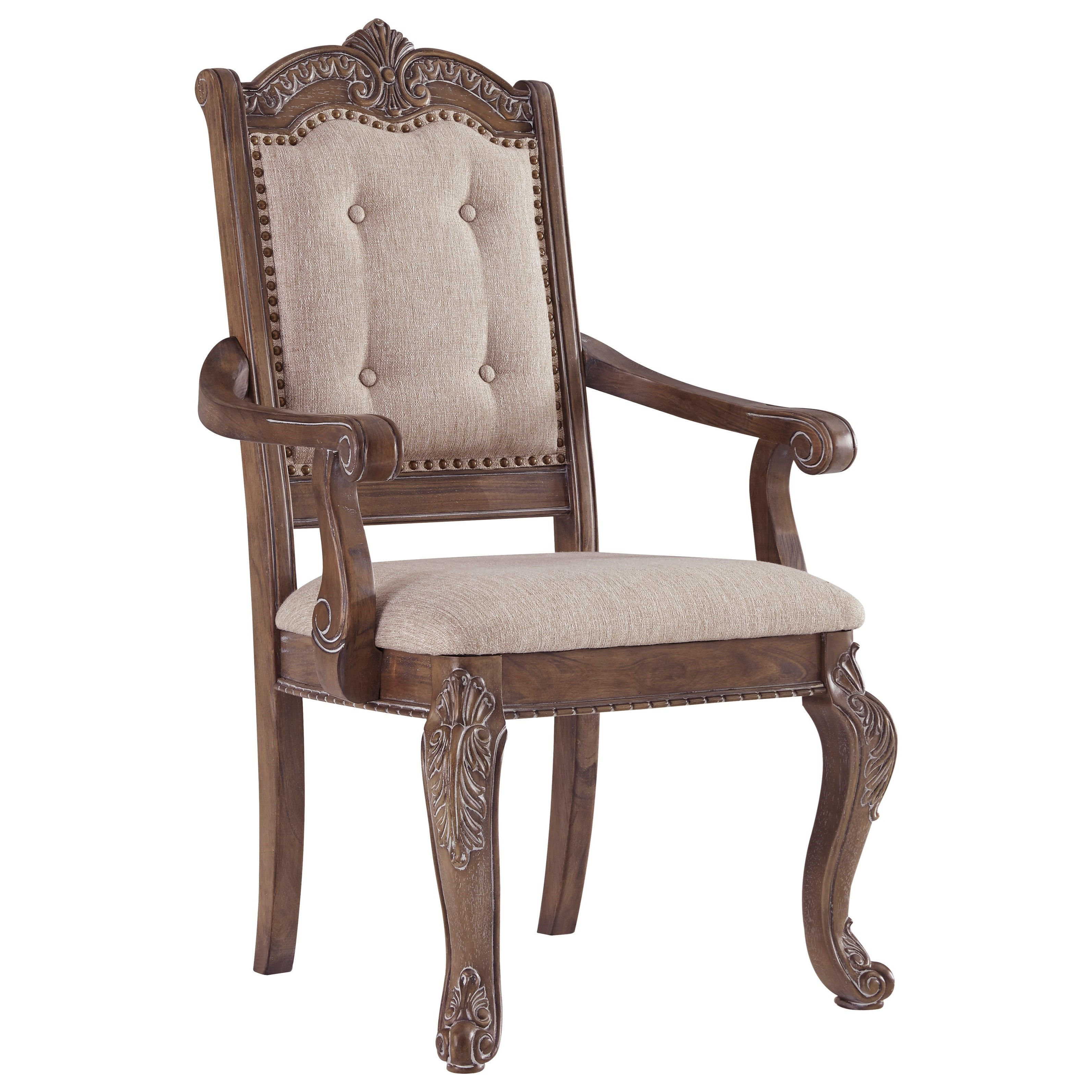 Charmond Dining Upholstered Arm Chair by Ashley (Signature Design) at Johnny Janosik