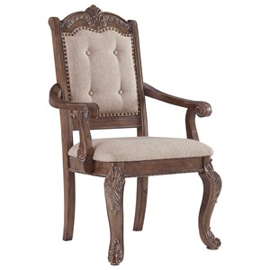Traditional Dining Upholstered Arm Chair with Ornate Details