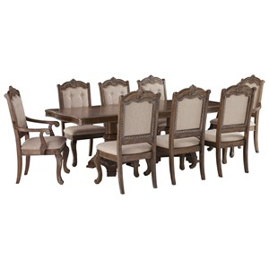 Traditional 9-Piece Rectangular Extension Table Set with Arm Chairs