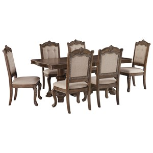 Traditional 7-Piece Rectangular Extension Table Set