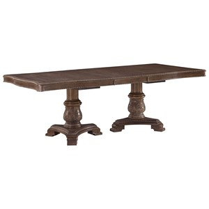 Traditional Double Pedestal  Rectangular Dining Room Extension Table