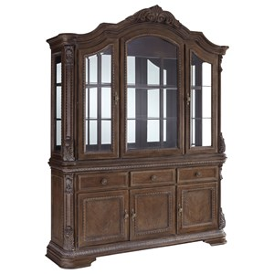 Traditional China Cabinet with Built-in Lighting