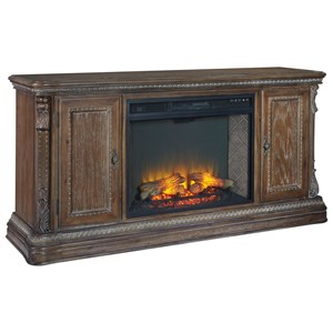Traditional Extra Large TV Stand with Fireplace Insert