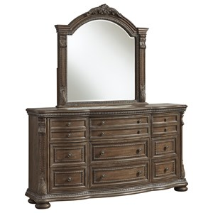 Traditional Nine Drawer Dresser Mirror Set