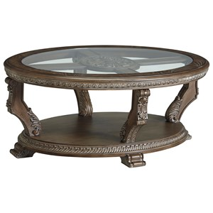 Traditional Oval Cocktail Table with Tempered Glass Top