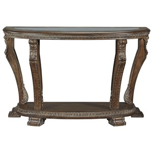 Traditional Demilune Sofa Table with Tempered Glass Top