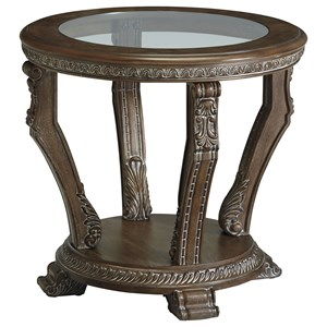 Traditional Round End Table with Tempered Glass Top