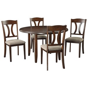 Transitional 5-Piece Round Dining Room Table Set