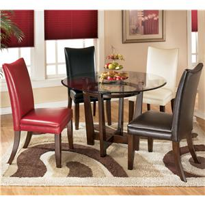 5 Piece Round Dining Table Set with 4 Different Color Upholstered Side Chairs