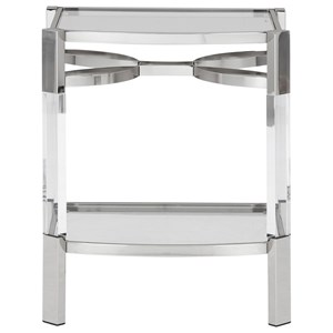 Metal/Acrylic Accent Table with Glass Top and Glass Shelf