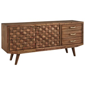 """Mid-Century Modern Extra Large 72"""" TV Stand with Basket Weave Door Fronts"""