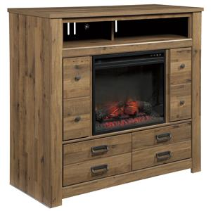 Signature Design by Ashley Cinrey Media Chest with Fireplace Insert