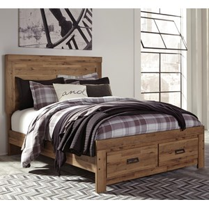 King Panel Storage Bed with 2 Footboard Drawers
