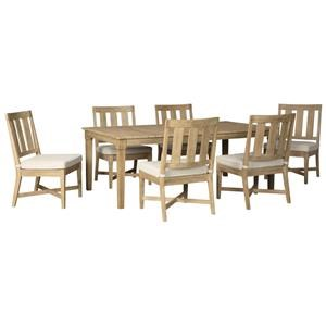 7 Piece Rectangular Outdoor Dining Table and 6 Side Chairs with Cushion Set