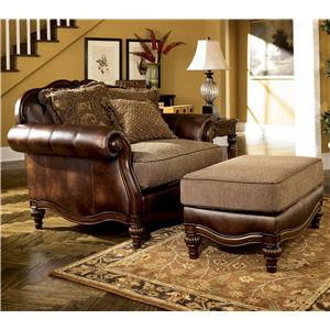 Signature Design by Ashley Claremore - Antique Chair and 1/2 and Ottoman