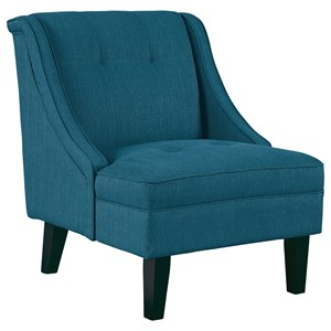 Accent Chair with Sloping Arms and Tufted Details