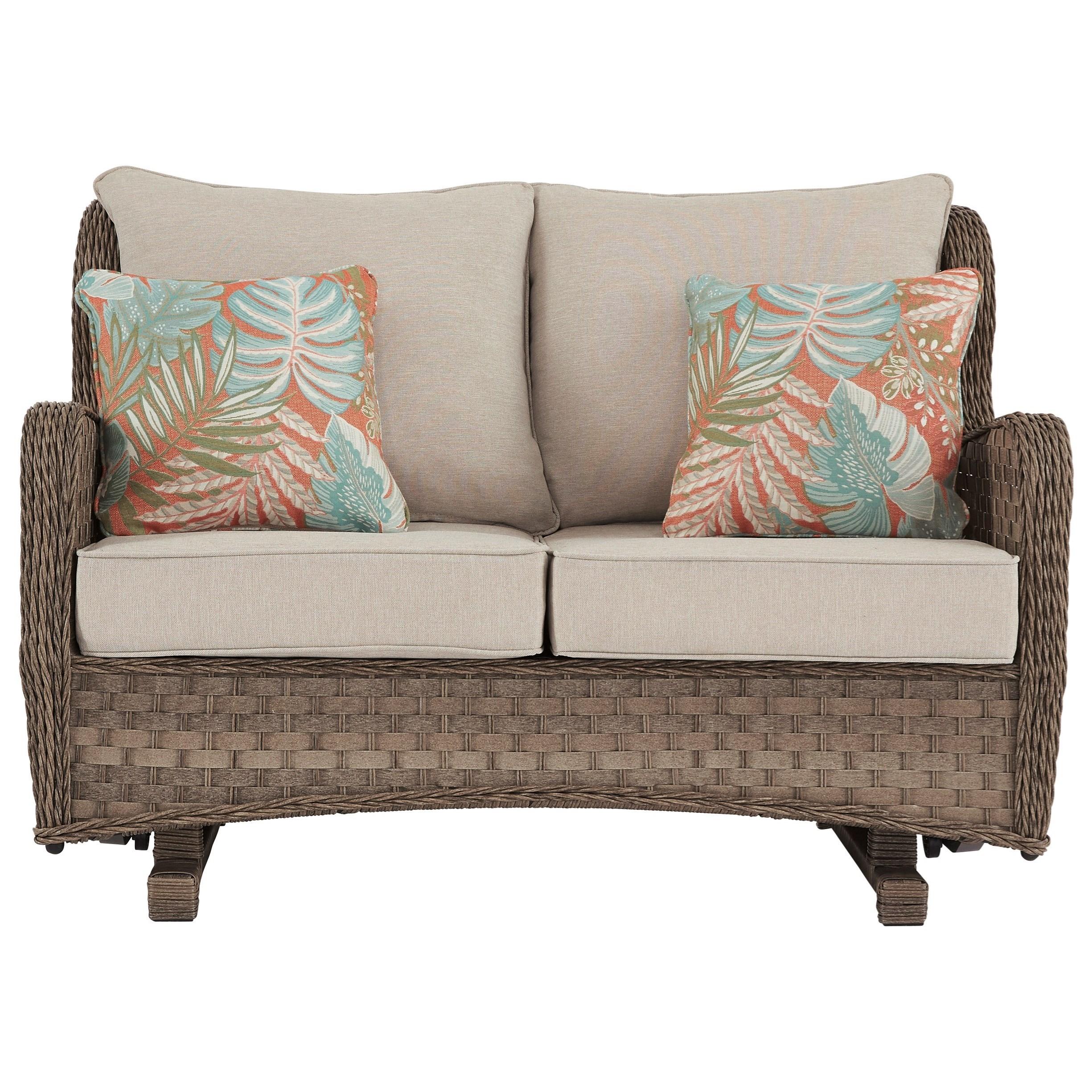 Clear Ridge Loveseat Glider w/ Cushion by Signature at Walker's Furniture