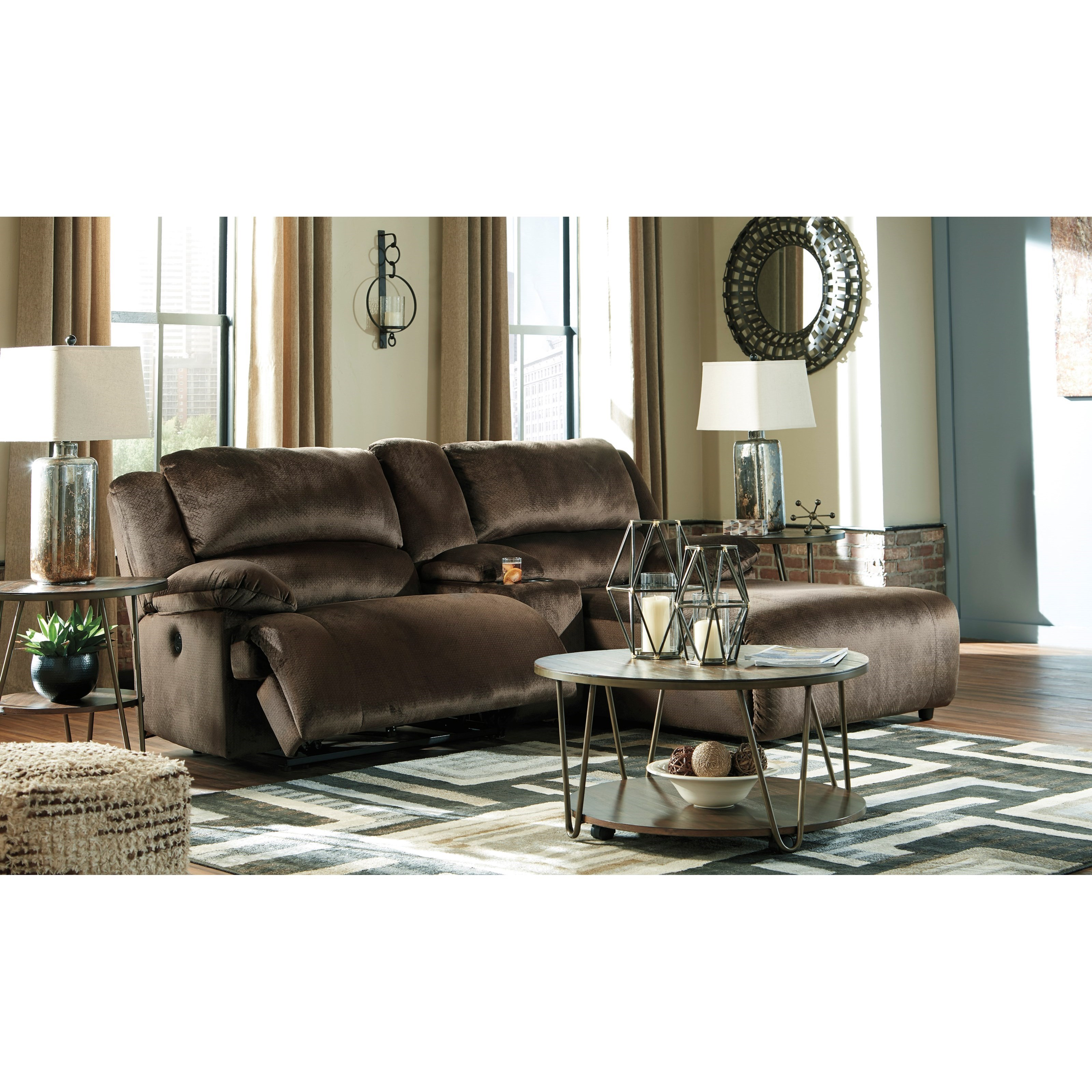 Clonmel Reclining Sectional w/ Chaise & Console by Ashley (Signature Design) at Johnny Janosik