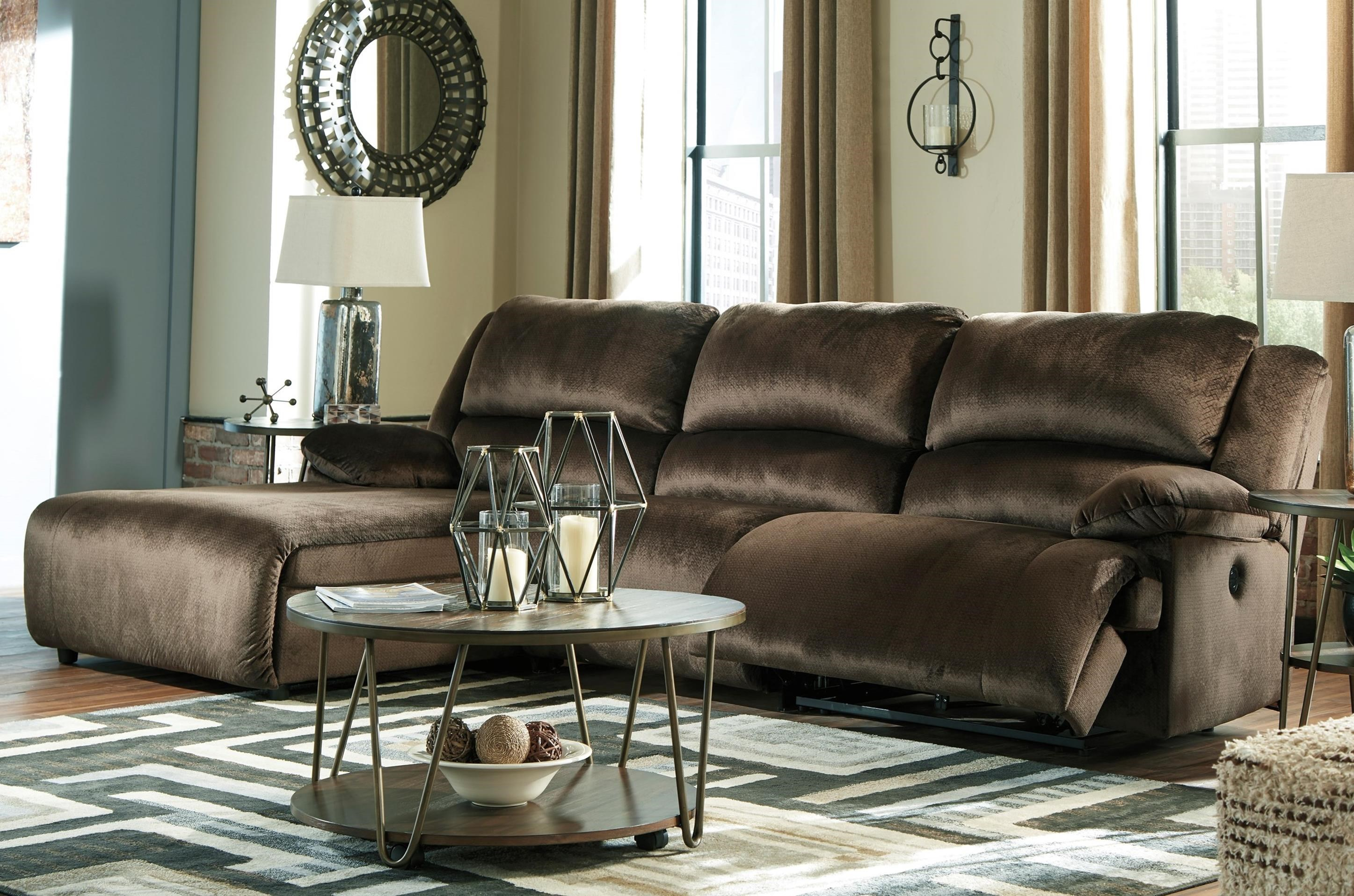Clonmel Reclining Sectional with Pressback Chaise by Ashley (Signature Design) at Johnny Janosik