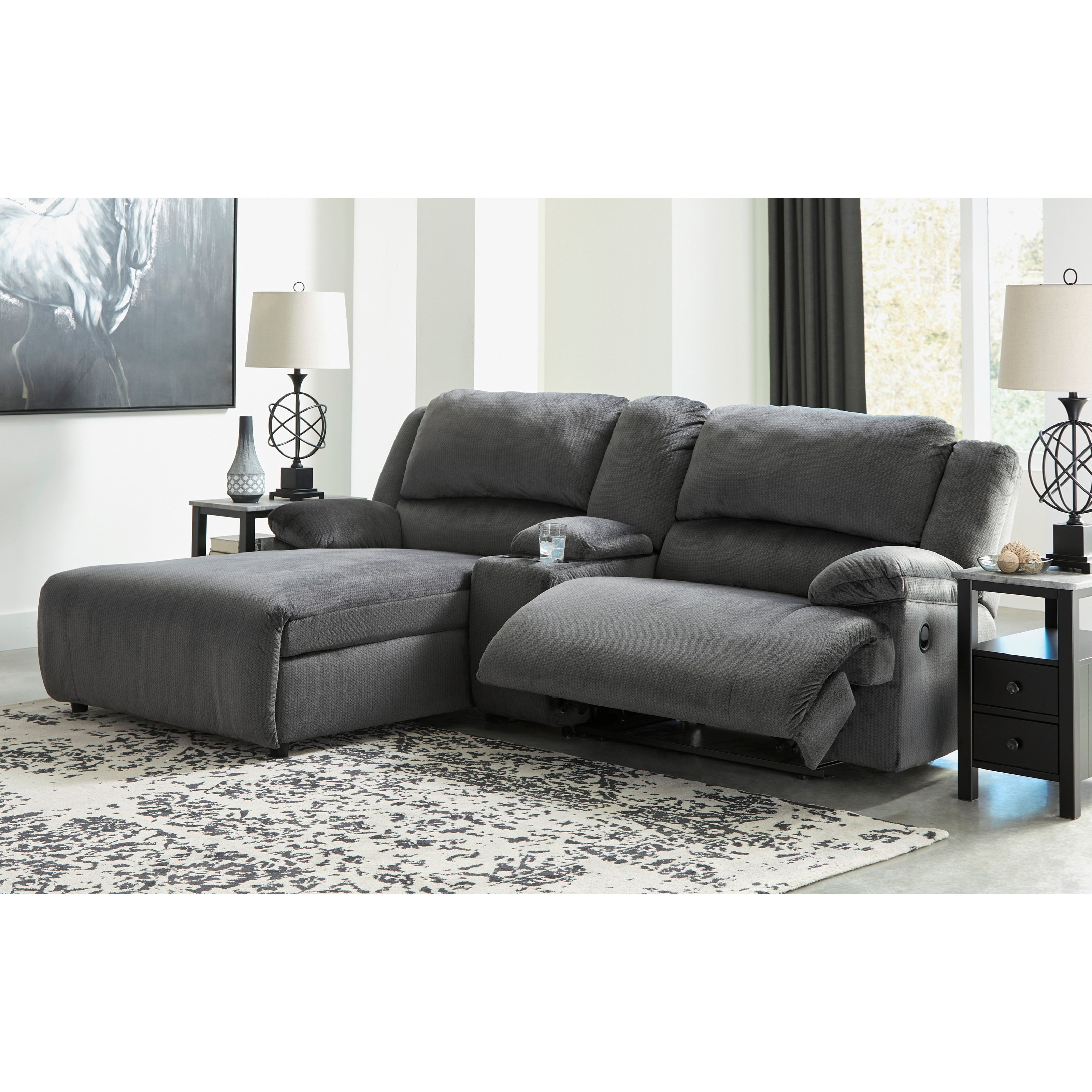 Clonmel Power Recl. Sectional w/ Chaise & Console by Ashley (Signature Design) at Johnny Janosik
