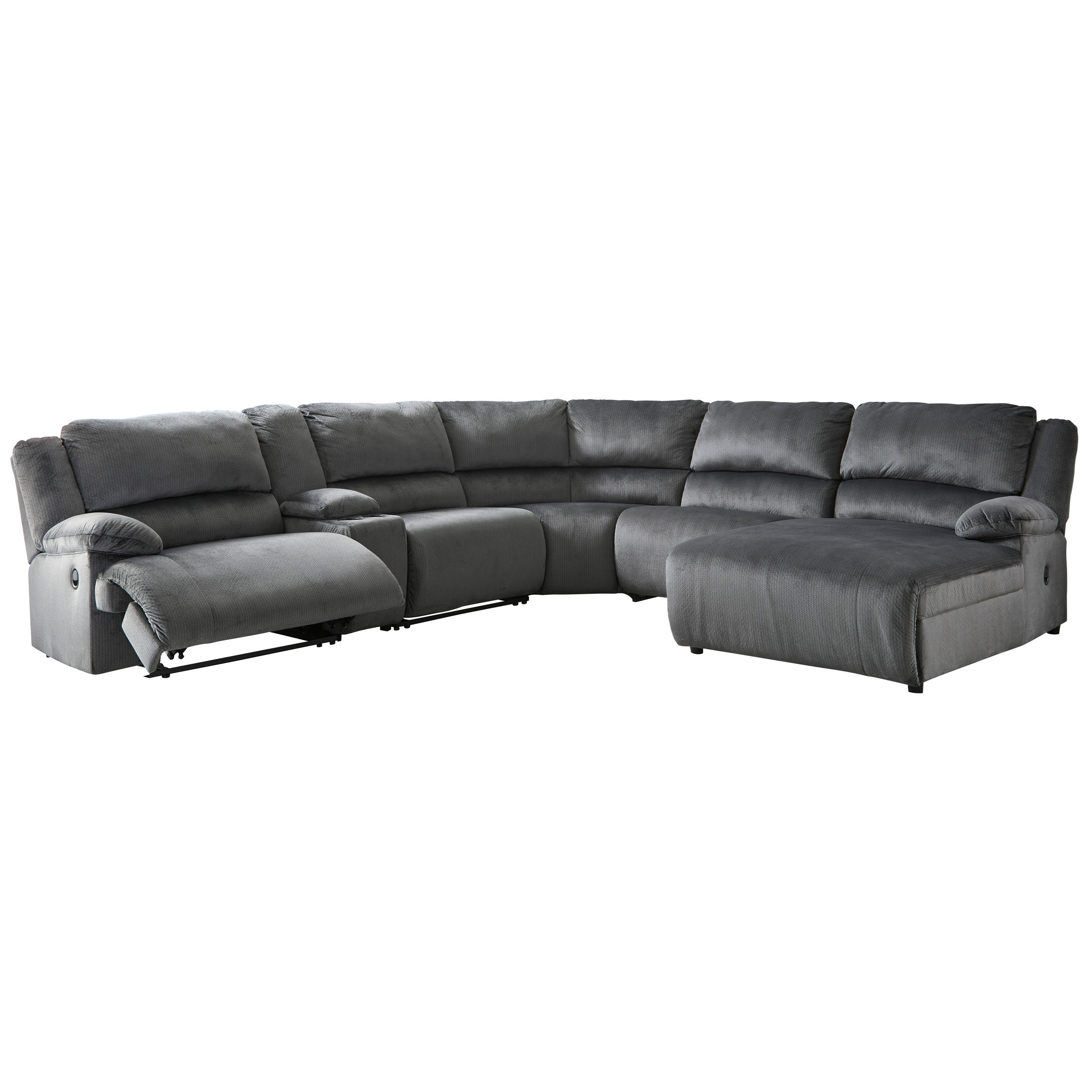 Clonmel Power Recl.Sectional with Chaise & Console by Signature Design by Ashley at Northeast Factory Direct