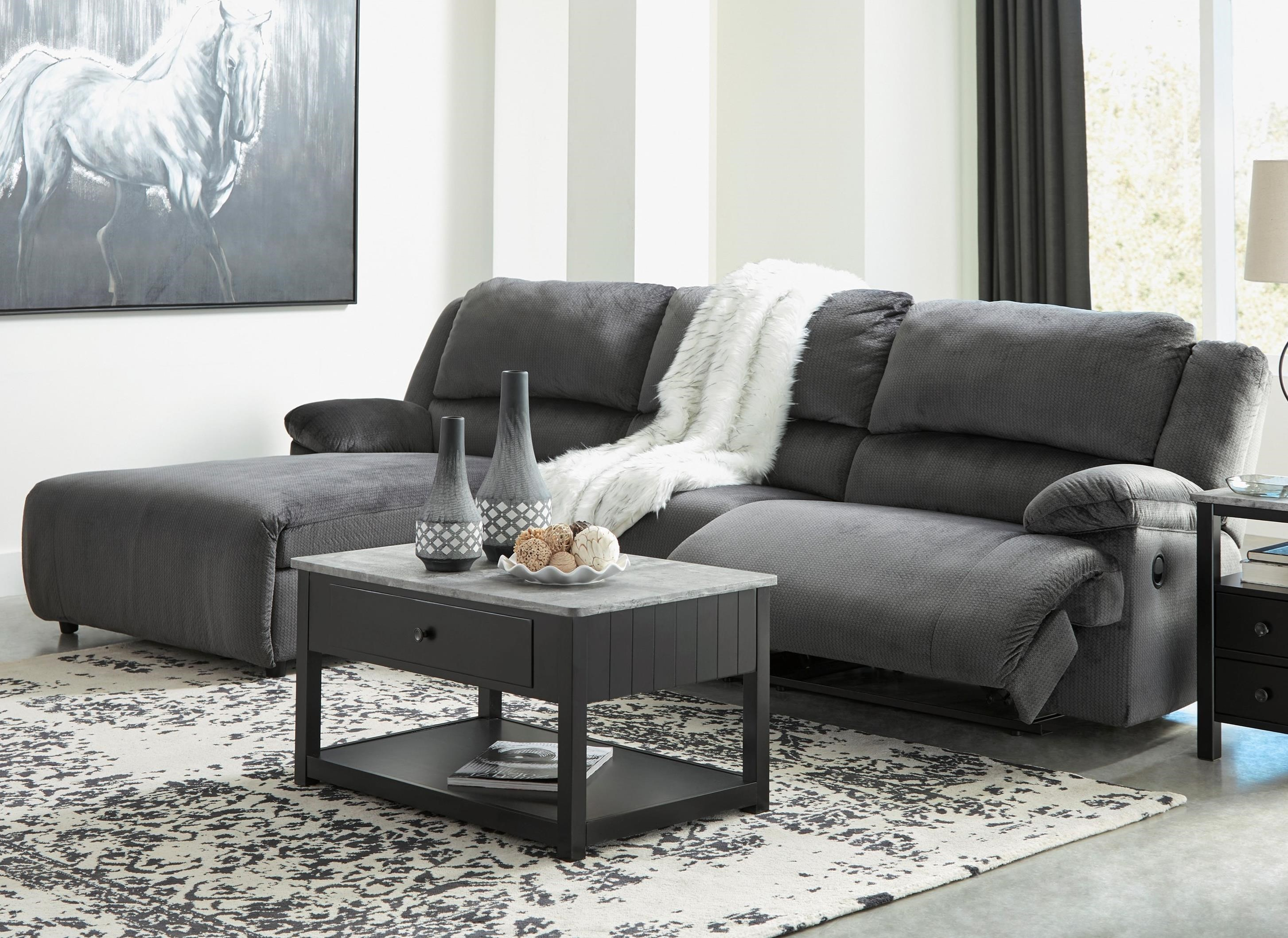 Clonmel Reclining Sectional with Pressback Chaise by Signature Design by Ashley at Northeast Factory Direct