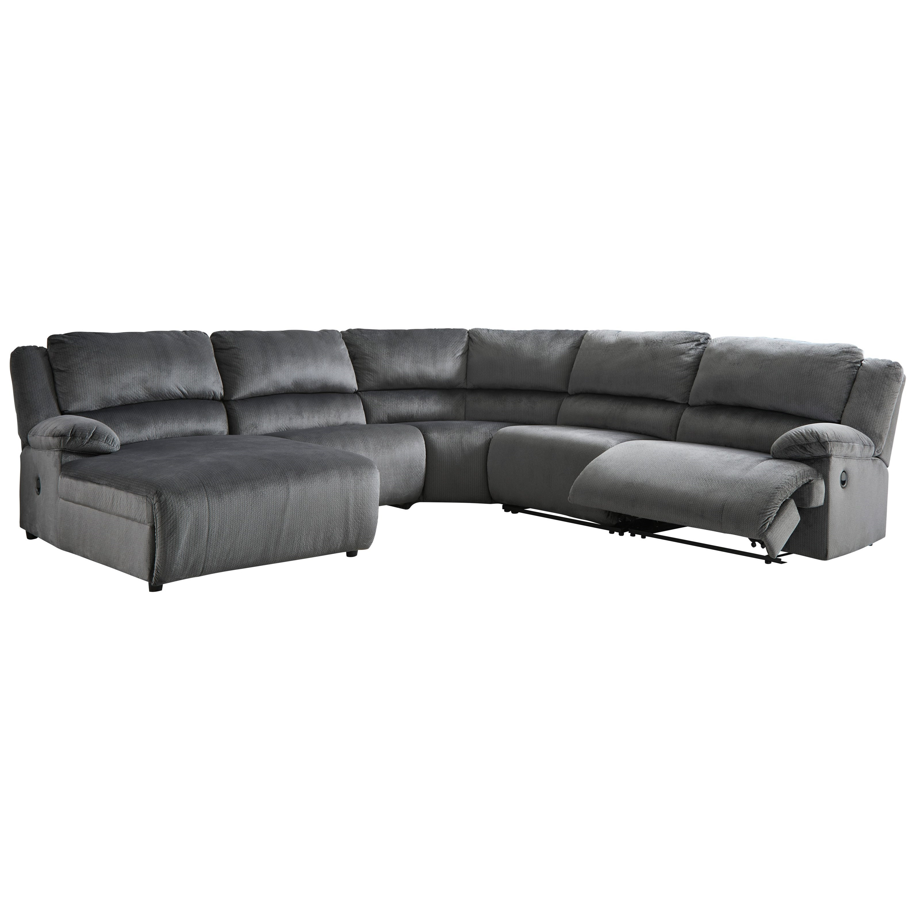 Clonmel Power Recl. Sectional with Pressback Chaise by Ashley (Signature Design) at Johnny Janosik