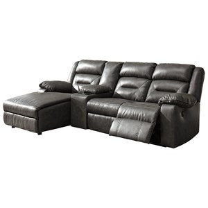 Four Piece Sectional Sofa with Chaise and Storage Console
