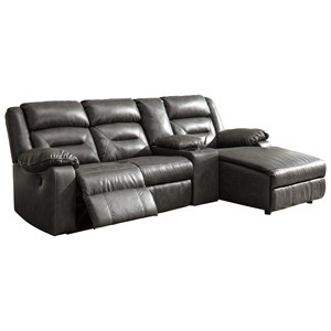 Four Piece Sectional with Chaise and Storage Console
