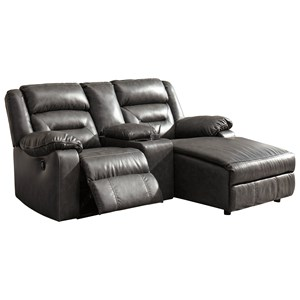 Three Piece Sectional Sofa with Chaise and Storage Console