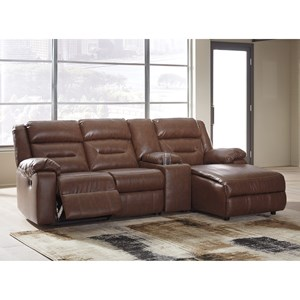 4-Piece Sectional with Chaise and Storage Console