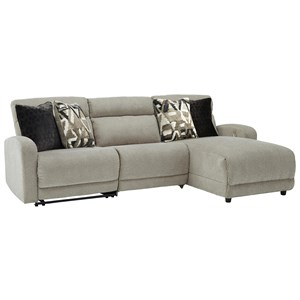 3-Piece Power Reclining Sectional with Press Back Chaise