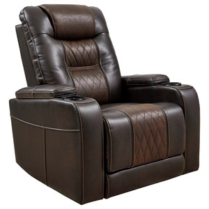 Power Recliner with Power Headrest and Built-In Lighting